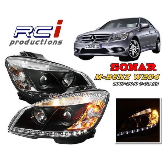 SONAR BENZ W204 晶鑽 燻黑 DRL款 雙光 遠近魚眼大燈組 含馬達 C300