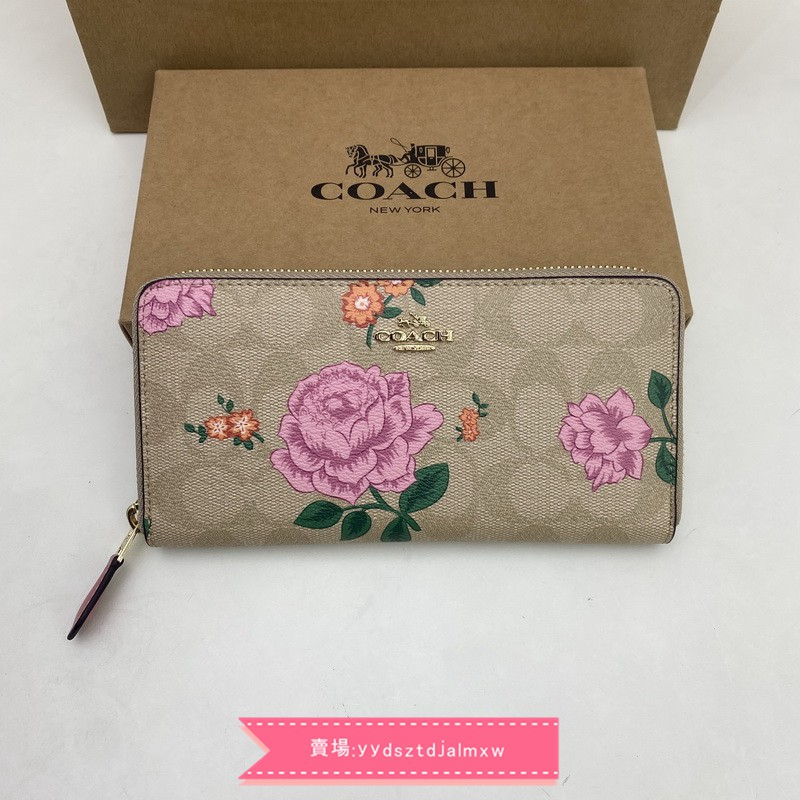 實拍COACH 2859女生新款花朵拉鏈長夾 多卡位皮夾 錢包 手拿包 附購證