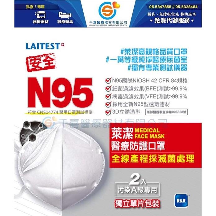 ★千喜醫療★ 萊潔 N95防護口罩(A級空汙專用)2入/包(一組/5包)