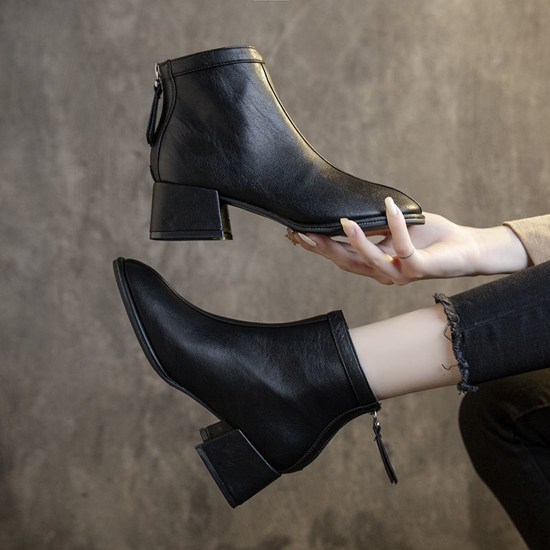 【現貨】【女高跟】軟皮馬丁靴女英倫風方頭靴子女2020秋冬新款粗跟短靴中跟百搭單靴