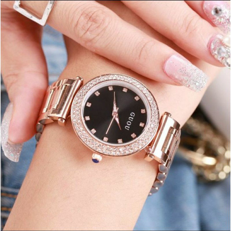 GUOU古歐正品🎀玫瑰金鋼帶三眼手錶🎁送原廠錶盒❤️