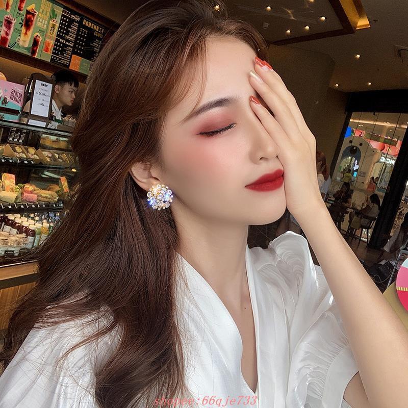 925銀針超閃花朵滿鉆奢華耳環2020新款潮網紅復古時尚耳釘韓國耳飾女潮人必備