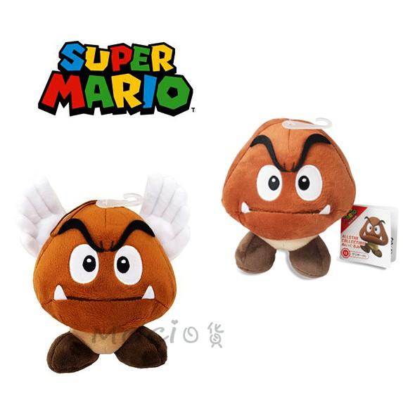 日本正版 超級瑪莉歐 栗寶寶 壞香菇 飛行蘑菇 栗子 瑪莉兄弟 娃娃 玩偶 公仔 S 任天堂 瑪利歐 【MOCI日貨】