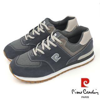 【MEI LAN】皮爾卡登 Pierre Cardin (男) 真皮 復古 氣墊 慢跑鞋 運動鞋 7240 灰 另有黑色 苗栗縣