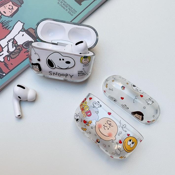 Airpods Pro 專用 1/2代 台灣發貨 [ 透明史努比查理布朗 ] 藍芽耳機保護套 蘋果無線耳機