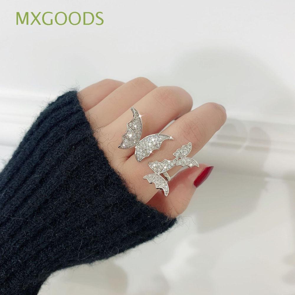 MXGOODS 水晶水鑽鋯石蝴蝶女性禮物銀色戒指開口環/多種顏色