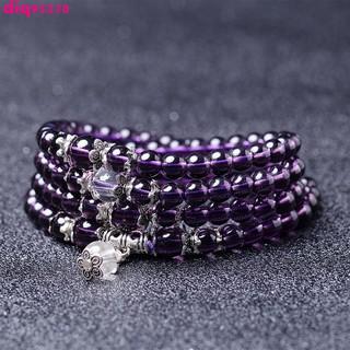 開光 紫水晶手鏈 3圈紫水晶手串 多圈紫水晶手鏈 108顆佛珠手串 情侶款 6mm 水晶手鏈精品熱賣 臺南市