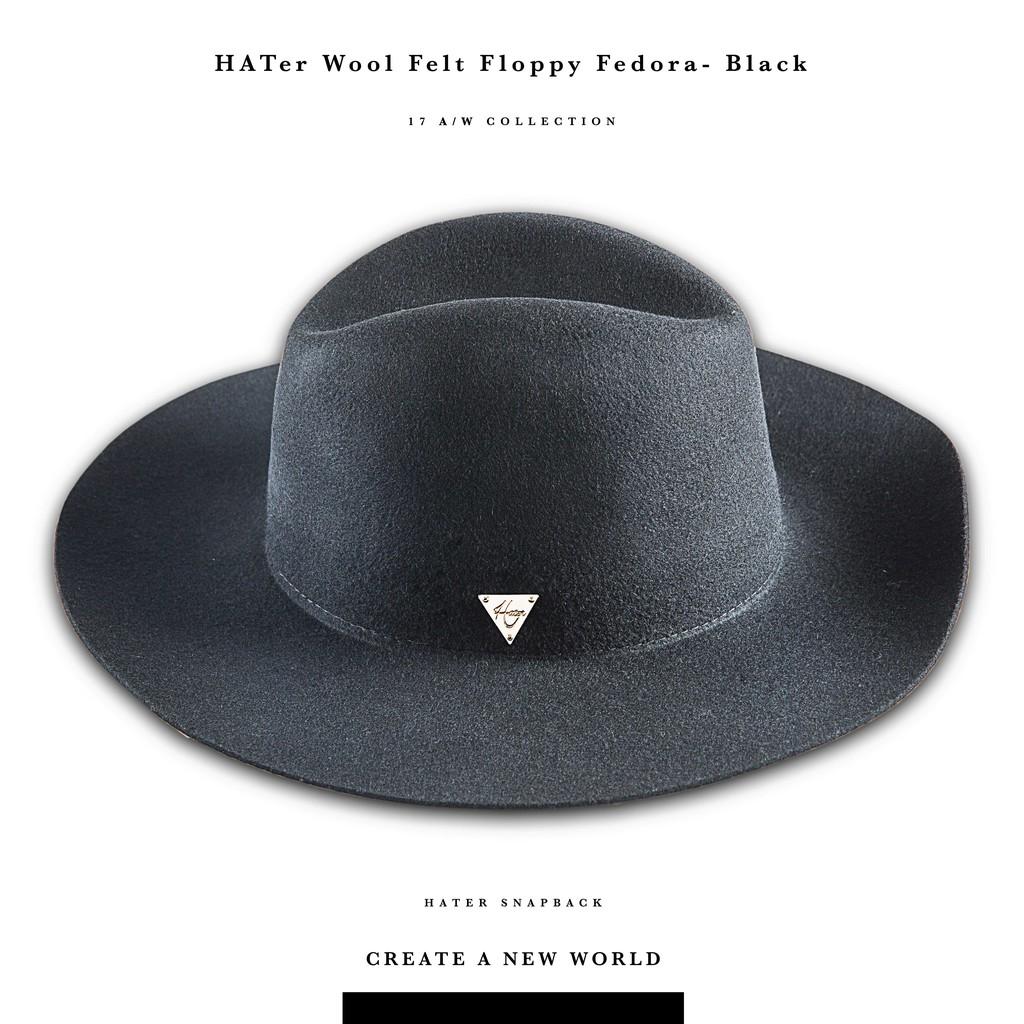 Hater Snapback  【HG/16】Wool Felt Floppy Fedora- Black黑-紳士帽