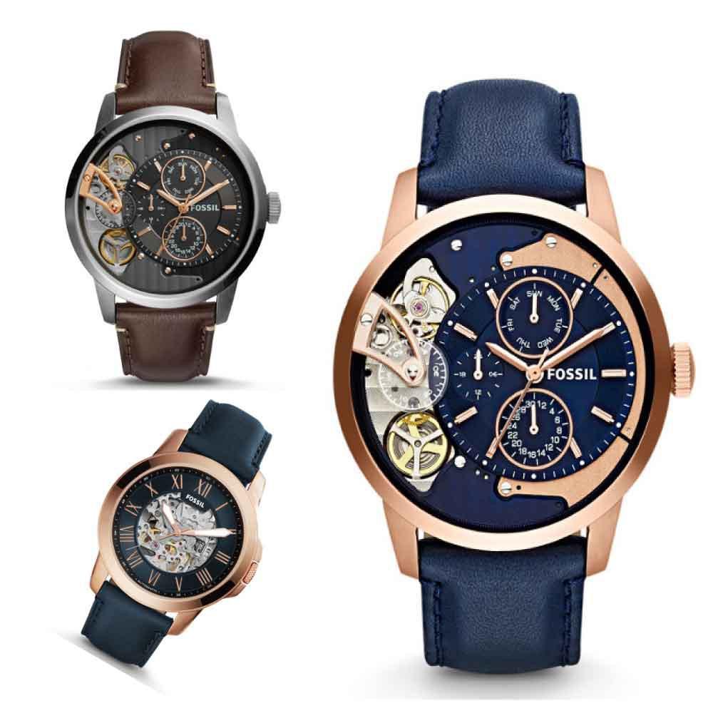 Fossil 典雅羅馬時標鏤空機械錶 【Watch-UN】