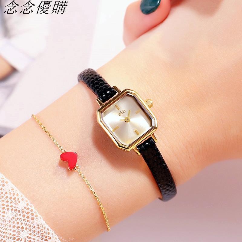 抖音爆款 日本ete同款方形女士ins手錶chic復古鱷魚紋細帶小錶盤念念優購