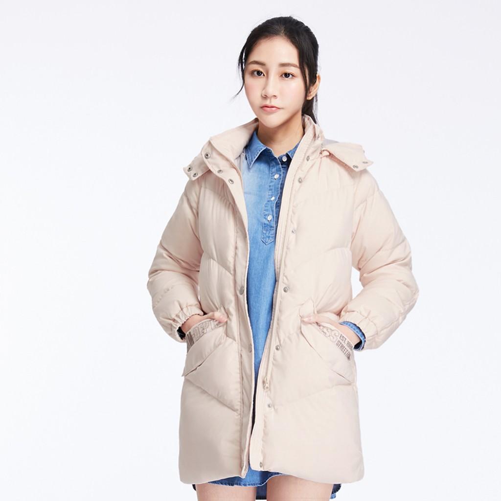 【ERSS】口袋繡花特殊顯瘦壓線中長版羽絨外套 - 女 淡桔 K10073