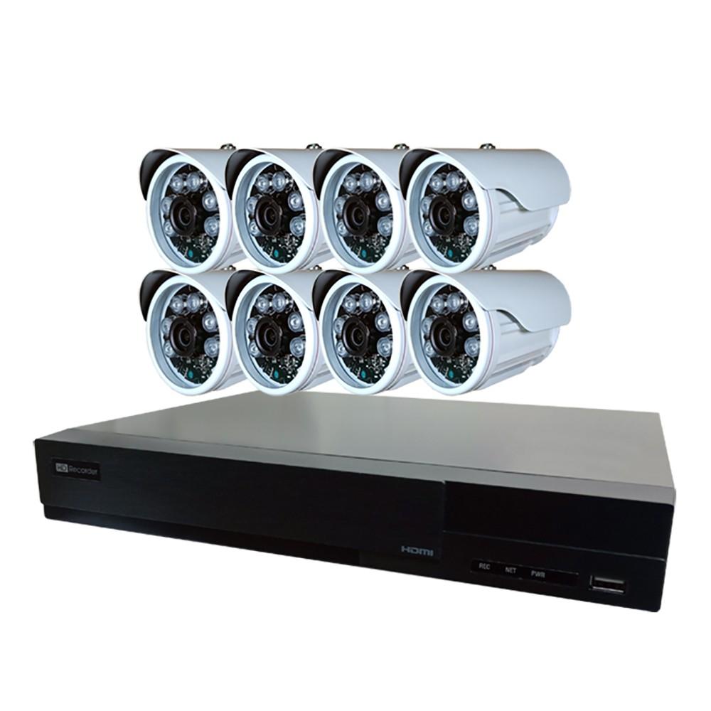 【4P四保】8路8鏡多合一1080P數位遠端監控DIY套組-含200萬畫素槍型監控鏡頭200W1