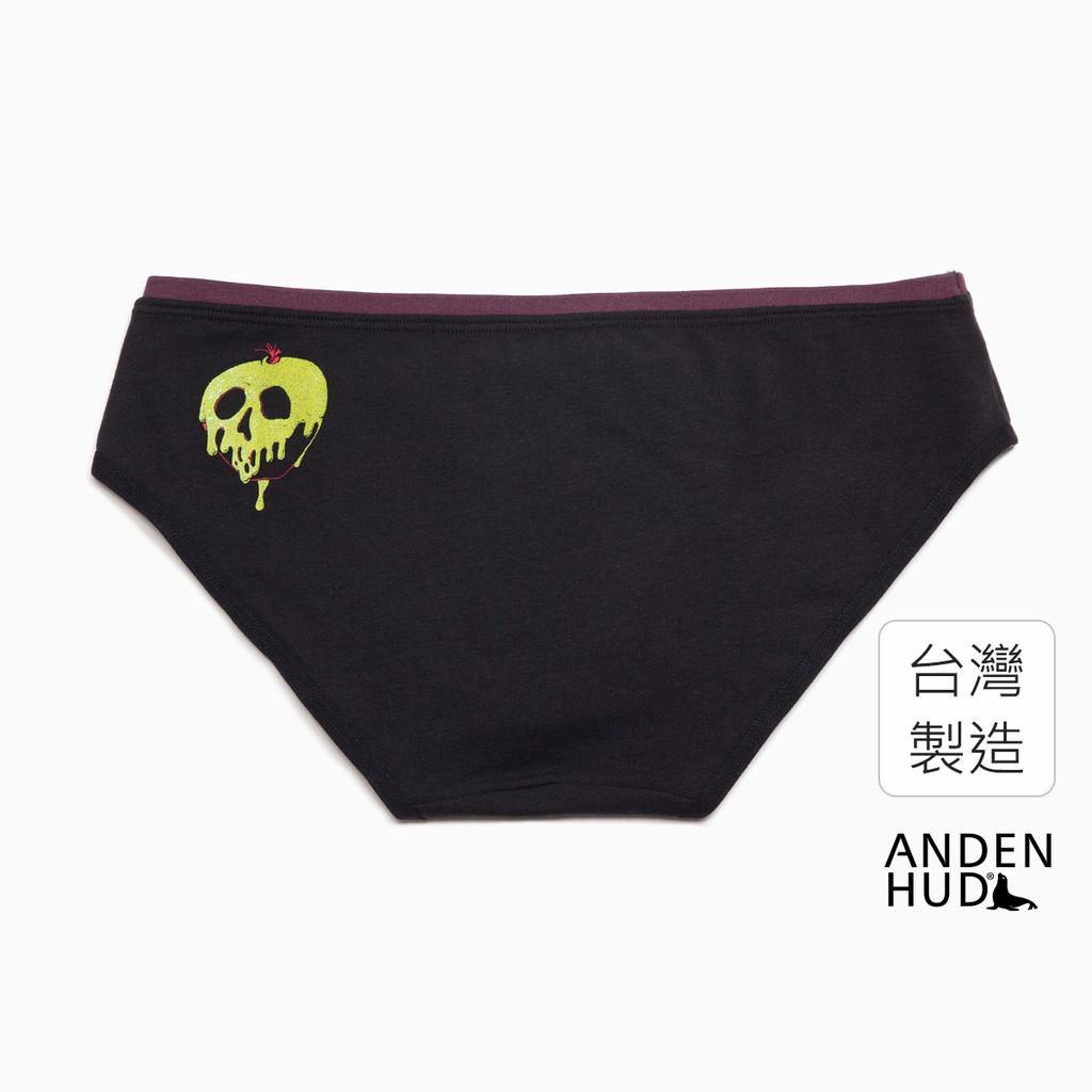 【Anden Hud】迪士尼暗黑系列.內襯緊帶中腰三角內褲(黑-毒蘋果) 台灣製