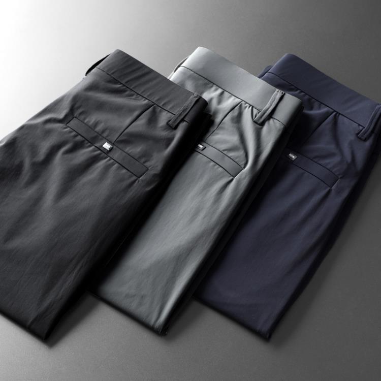 西褲 冰絲滑正裝休閑西褲子男士夏季超薄款抗皺免燙商務寬松直筒西裝褲-高品質