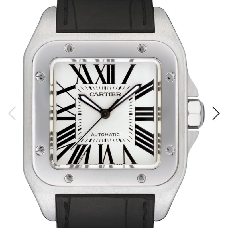Cartier Santos100 L號 黑色鱷魚皮錶帶 自動上鍊