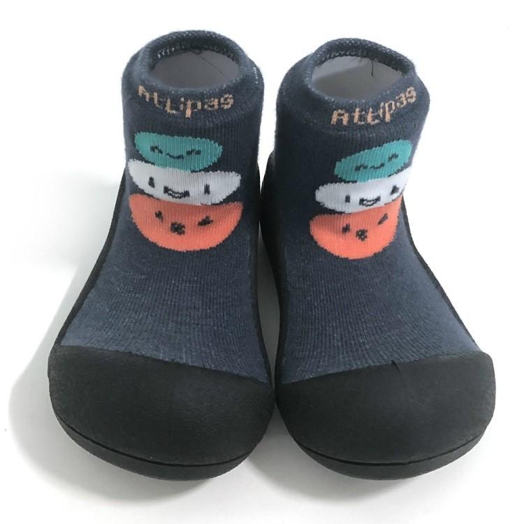 韓國 Attipas 快樂腳襪型學步鞋- 黑底/藍底麻吉