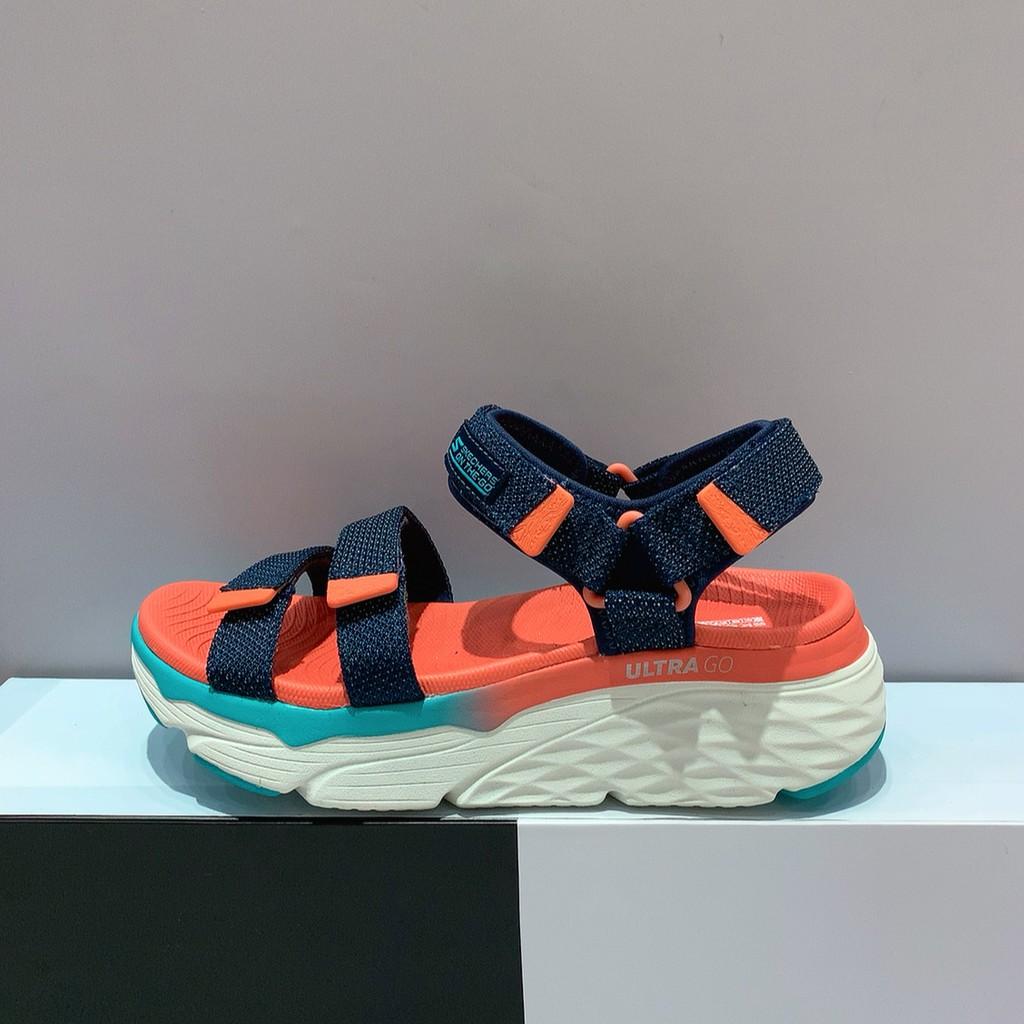 SKECHERS MAX CUSHIONING SLAY 女生 橘藍色 舒適 柔軟 厚底 涼鞋 140120NVMT