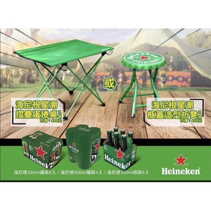 7-11 海尼根 星潮瓶蓋造型折凳 摺疊蛋捲桌