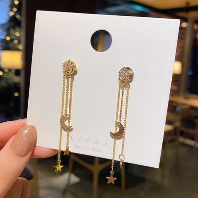 耳環 飾品 耳飾 82208 S925銀針五角星星耳環長款氣質流蘇耳飾個性設計感耳墜GB507 衣時尚
