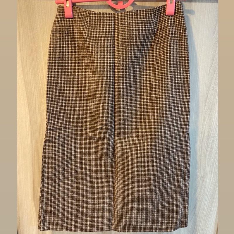 Queen shop 咖啡色復古細格子毛料高腰鉛筆裙