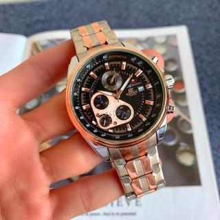 現貨✈¤Casio卡西歐時尚男士手錶三眼計時手錶流行鋼帶石英商務精品表
