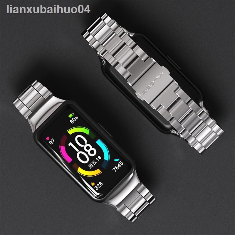 ▬✘適用華為榮耀手環6/華為手環6腕帶金屬磁吸皮質尼龍nfc版替換表帶