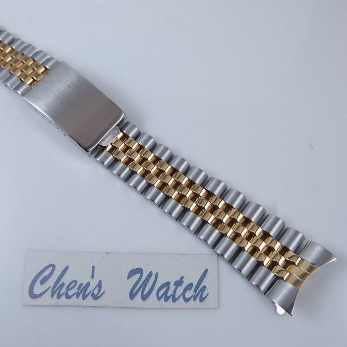 【錶帶家】勞力士 Rolex 16013 16233 18k金電鍍五珠 20mm 實心鋼帶 與原廠相同兩邊兩珠實心