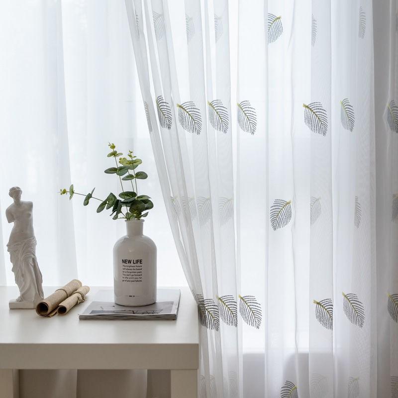❖♝窗紗紗簾白紗窗簾透光不透人半透窗簾白色遮光布料短款白紗陽臺紗P