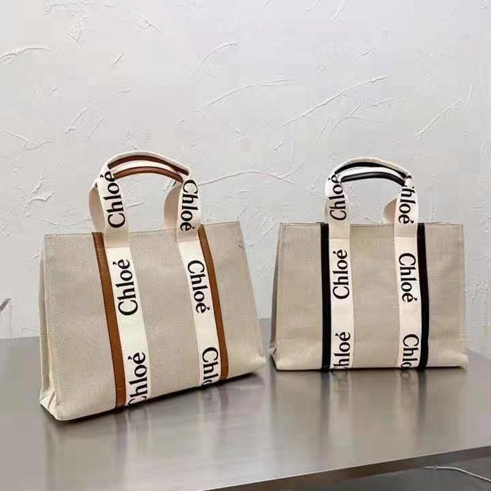 蔻依 CHLOE WOODY TOTE BAG木質手提袋 帆布手提包 購物包 托特包 購物袋 單肩包 帆布包 女包 包包