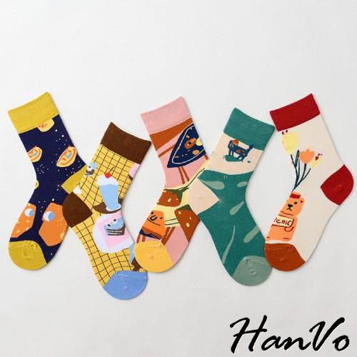 【HanVo】創意圖畫卡通男女可穿潮流AB中筒襪 時尚情侶襪 長襪 日系棉襪 個性潮襪 韓國AB襪子 穿搭配件 6036