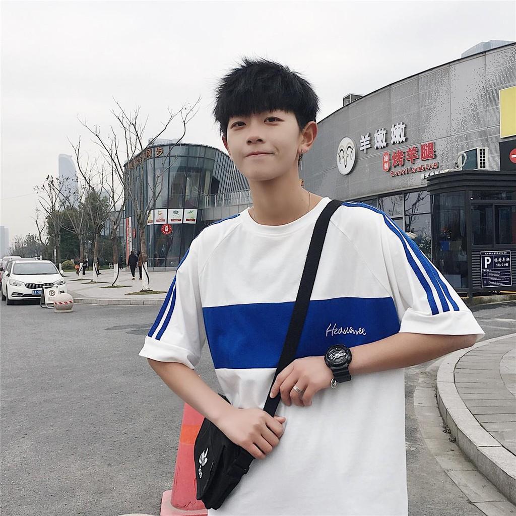 港風寬松ins拼色短袖T恤夏季韓版男生體恤衫潮牌網紅文藝半袖衣服