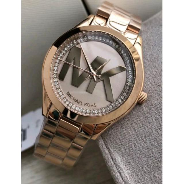 21e976310b02 MICHAEL KORS 手錶/MK3549 玫瑰金秀麗晶鑽經典LOGO金色不鏽鋼錶帶腕錶/女錶/32mm | 蝦皮購物