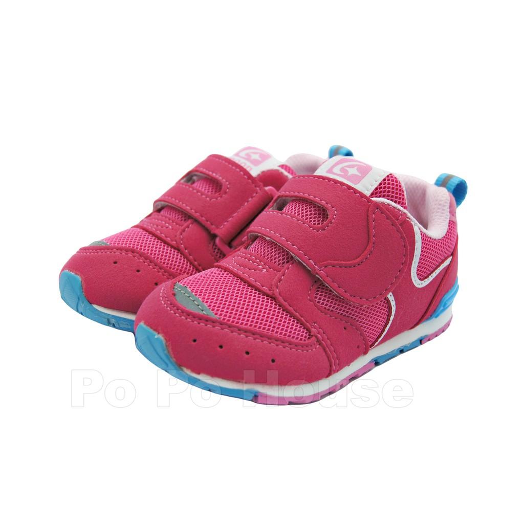 <>  Moonstar月星 小童 機能鞋 矯正鞋 HI系列 寬楦 日本機能 魔鬼氈桃紅J9654)