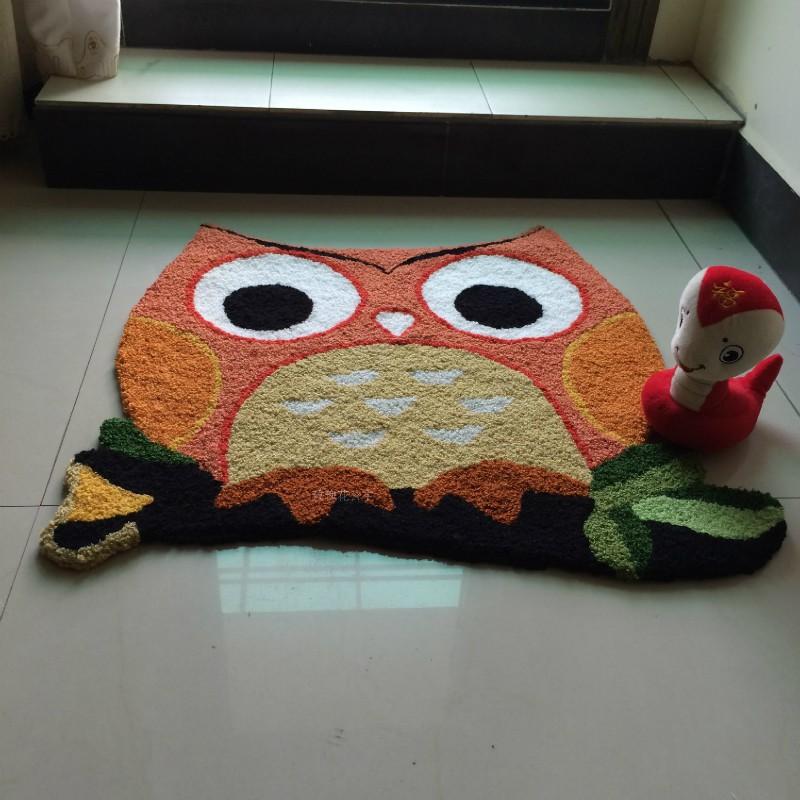 新款不規則金黃色貓頭鷹地毯 兒童臥室地墊 椅子坐墊 客廳入門墊