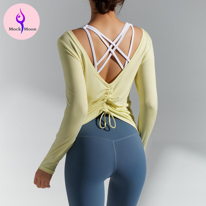 MockMoon 瑜伽長袖運動上衣瑜珈服秋冬新款長袖T恤休閒寬鬆顯臀可調節衣長健身上衣透氣親膚顯瘦 YD320