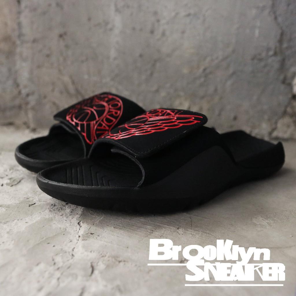 ed6ba6e9327c Nike Jordan Hydro 7 黑紅魔鬼氈大LOGO 拖鞋男(布魯克林) AA2517-062 ...
