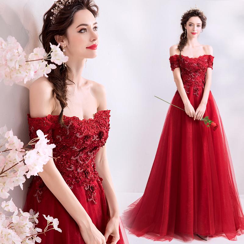 2021新款現貨 晶鑽花朵紅色結婚敬酒服新娘答謝宴婚紗晚禮服批發5626
