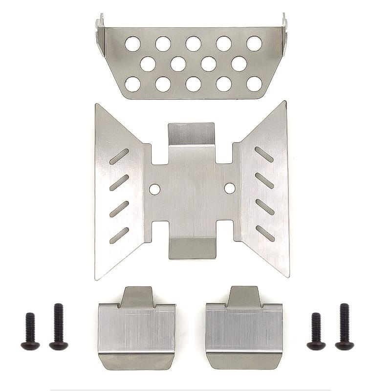 4個裝 不銹鋼軸保護器底盤裝甲防滑板適用於 遙控攀爬車 AXIAL SCX10 III AXI03007 升級零件