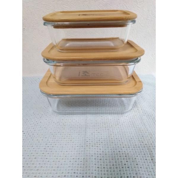 台泥股東會紀念品 竹蓋環保玻璃保鮮盒套三組 現貨