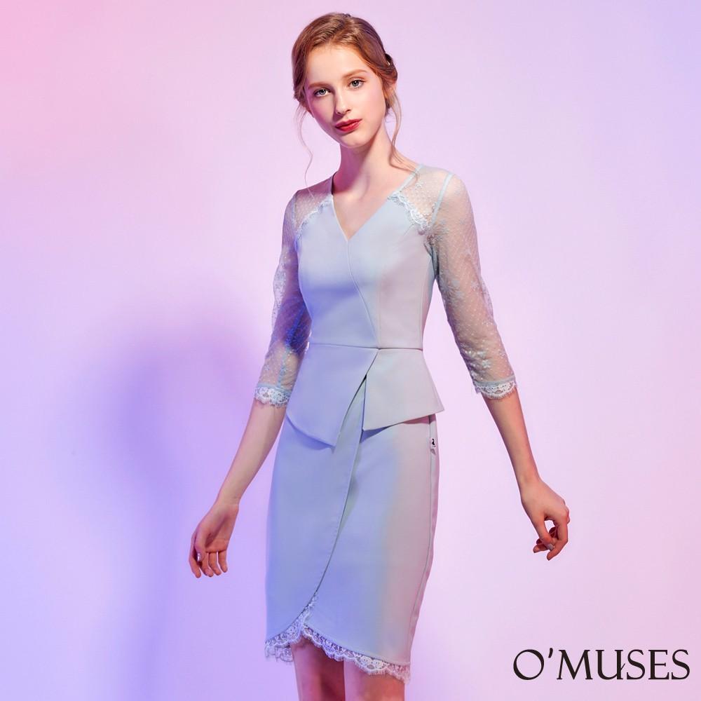 【OMUSES】V領蕾絲拼接洋裝 37-20054-1