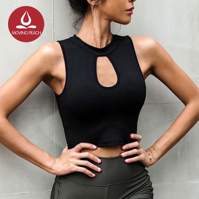MOVING PEACH 運動背心含胸墊鏤空性感設計復古瑜伽背心 AVX