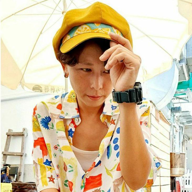 【HiGh MaLi】日系拼布/寬帽沿/報童帽/黃色配檸檬【沒現貨,下訂後才製作】