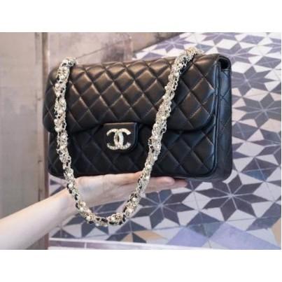 二手 正品 Chanel 香奈兒包 A94305 Westminster Flap 菱格紋羊皮珍珠鍊帶包 黑