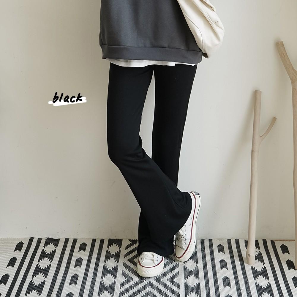 洋芋妹-正韓素面彈性佳棉質喇叭長褲 2色【SA547675】