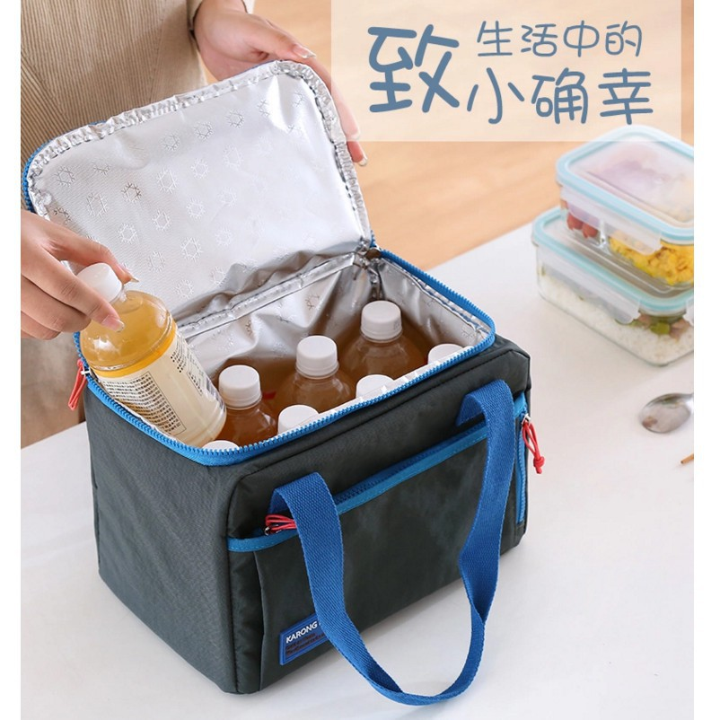 便當手提包裝飯盒的袋子方形帶飯包女保溫袋鋁箔加厚大號手提防水#新北百超TW#