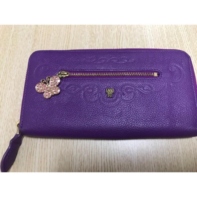 Anna Sui 專櫃正品 紫色真皮蝴蝶水鑽吊飾長夾 皮夾