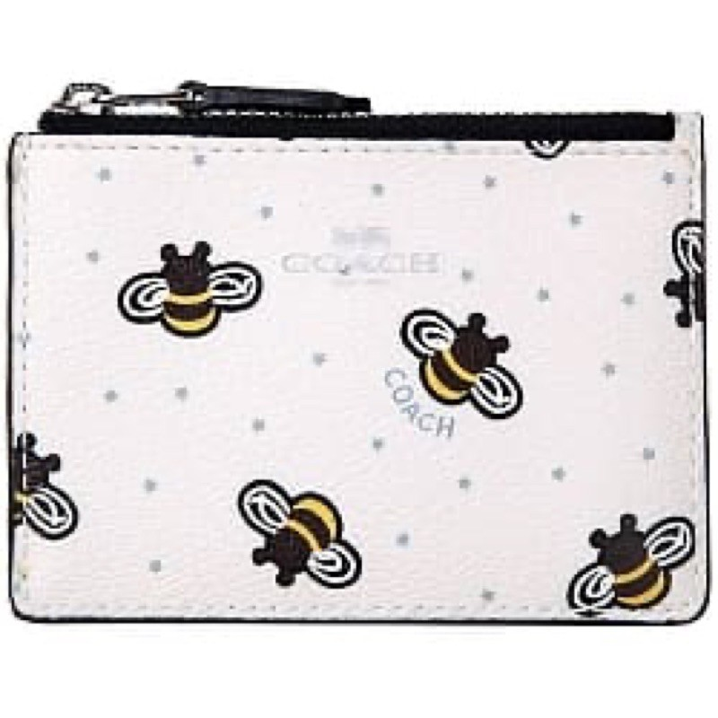 COACH 圖樣PVC拉鍊零錢包證件夾-蜜蜂白