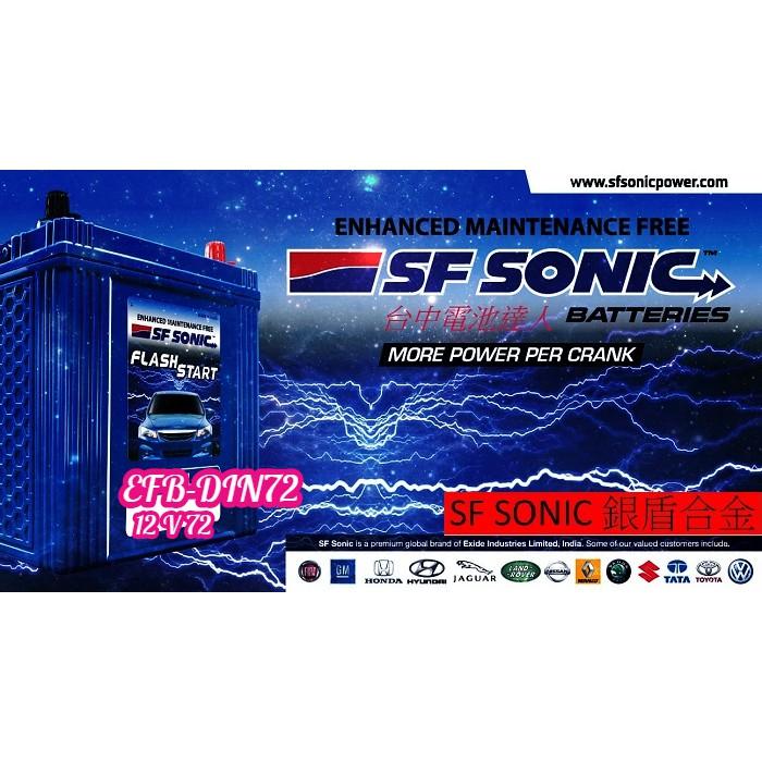 ☼ 台中電池達人 ►SF SONIC EFB 72 N70 EXIDE VARTA BANNER MOLL AMARON