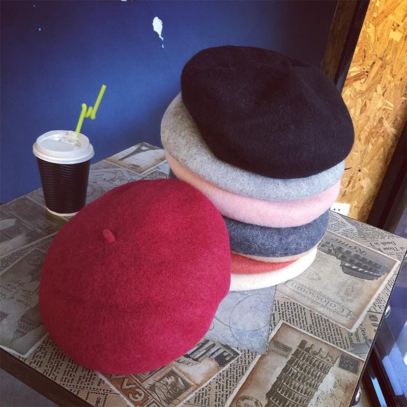 秋冬韓版百搭羊毛貝雷帽女士復古毛呢休閒畫家帽日系簡約蓓蕾帽潮