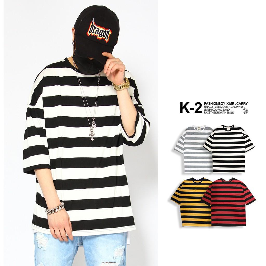 【K-2】粗條紋七分寬版上衣 條紋 粗條T OVERSIZE【K76】